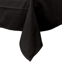54 inch x 114 inch Rectangular Black Hemmed Polyspun Cloth Table Cover