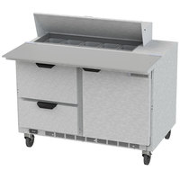 Beverage Air SPED48HC-10C-2 48 inch 1 Door 2 Drawer Cutting Top Refrigerated Sandwich Prep Table with 17 inch Wide Cutting Board