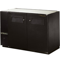 True TBB-24GAL-48 48 inch Black Narrow Under Bar Refrigerator with Galvanized Top and Two Solid Doors