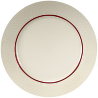 Homer Laughlin Gothic Maroon Jade 12 1/2 inch Off White China Plate - 12/Case