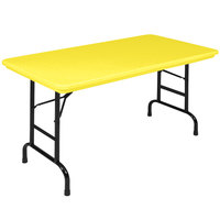 Correll Folding Table, 24 inch x 48 inch Plastic Adjustable Height, Yellow - R-Series RA2448