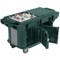 Cambro VBRUT5519 Kentucky Green 5' Versa Ultra Work Table with Storage and Standard Casters