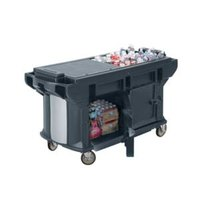 Cambro VBRUT5186 Navy Blue 5' Versa Ultra Work Table with Storage and Standard Casters