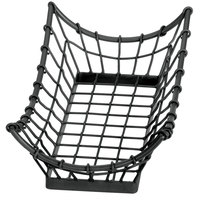 Tablecraft GM1608 Grand Master Rectangular Black Metal Basket - 15 inch x 8 inch x 4 1/4 inch
