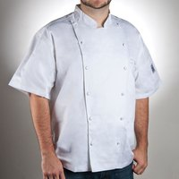 Chef Revival J057-5X Size 64 (5X) White Customizable Cuisinier Short Sleeve Chef Jacket - 100% Luxury Cotton