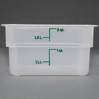 Cambro 2SFSPP190 CamSquare 2 Qt. Translucent Food Storage Container with Kelly Green Graduations