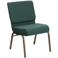 Flash Furniture FD-CH0221-4-GV-S0808-GG Hunter Green Dot Patterned 21 inch Extra Wide Church Chair with Gold Vein Frame