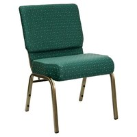Hunter Green Dot Patterned 21 inch Extra Wide Church Chair with Gold Vein Frame