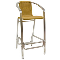 American Tables & Seating 56-BS Aluminum Bar Stool with Synthetic Bamboo Back and Seat