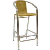 American Tables & Seating 56BS Aluminum Bar Stool with Synthetic Bamboo Back and Seat