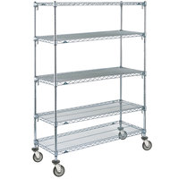 Metro 5A366EC Super Adjustable Chrome 5 Tier Mobile Shelving Unit with Polyurethane Casters - 18 inch x 60 inch x 69 inch