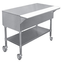 APW PWT-4S 22 1/2 inch x 63 1/2 inch Mobile Stainless Steel Work-Top Counter with Cutting Board and Stainless Steel Undershelf