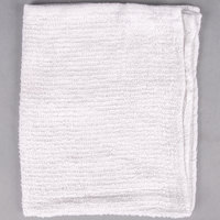 Choice 16 inch x 19 inch White 24 oz. 100% Cotton Ribbed Terry Bar Towel - 12/Pack