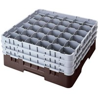 Cambro 36S900167 Brown Camrack Customizable 36 Compartment 9 3/8 inch Glass Rack