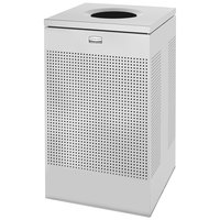Rubbermaid FGSC18ERBSM Silhouettes Silver Metallic Steel Designer Waste Receptacle - 40 Gallon