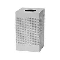 Rubbermaid FGSC18ERBSM Silhouettes Silver Metallic Steel Designer Waste Receptacle - 40 Gallon