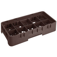 Cambro 10HS434167 Brown Camrack 10 Compartment 5 1/4 inch Half Size Glass Rack