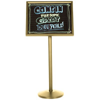 Aarco P-7B Single Pedestal Brass Frame Black Marker Board with Neon Markers