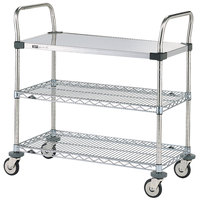 Metro MW403 Super Erecta 18 inch x 36 inch x 38 inch Three Shelf Standard Duty Utility Cart