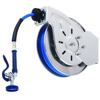 T&S B-7242-01 50' Open Epoxy Coated Steel Hose Reel with EB-0107 High-Flow Spray Valve