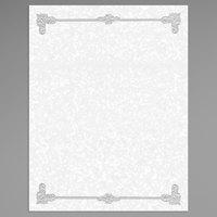 8 1/2 inch x 11 inch Black Menu Paper - Scroll Border - 100/Pack