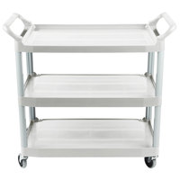 Rubbermaid FG409100OWHT Xtra Off-White 300 lb. Three Shelf Utility Cart / Bus Cart 40 inch x 20 inch x 37 inch