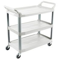 Rubbermaid FG409100OWHT Xtra Off-White 300 lb. Three Shelf Utility Cart / Bus Cart 40 inch x 20 inch x 37 inch