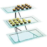 Cal-Mil 1710-13 Glacier Three Tier Black Wire Rectangular Faux Glass Tray Display