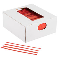 Bedford Industries Inc. 4 inch Red Laminated Bag Twist Ties - 2000 / Box