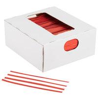 "Bedford Industries Inc. 4"" Red Laminated Bag Twist Ties - 2000/Box"