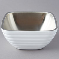 Vollrath 4763250 Double Wall Square Beehive 1.8 Qt. Serving Bowl - Pearl White
