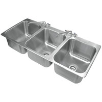 Advance Tabco DI-3-1612 3 Compartment Drop In Sink - 16 inch x 20 inch x 12 inch Bowls