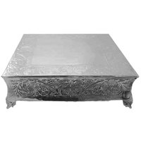 Tabletop Classics AC-87714 Ornate Nickel Plated Square Cake Stand - 14 inch