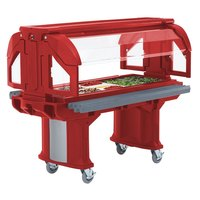 Cambro VBRLHD5158 Hot Red 5' Versa Food / Salad Bar with Heavy Duty Casters - Low Height