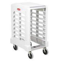 Rubbermaid FG331500OWHT ProServe 8 Pan Off White Max System End Load Prep Cart with Cutting Board - Unassembled