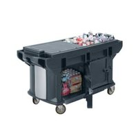 Cambro VBRUT6186 Navy Blue 6' Versa Ultra Work Table with Storage and Standard Casters