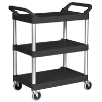 Rubbermaid 3424-88 Black Three Shelf Utility Cart / Bus Cart 33 x 18 x 37 (FG342488BLA)