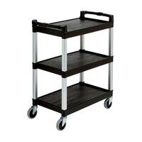 Rubbermaid 3424-88 Black Three Shelf Utility Cart / Bus Cart 33 x 18 x 37 (FG342488)