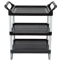 Rubbermaid FG342488BLA Black Three Shelf Utility Cart / Bus Cart 33 x 18 x 37