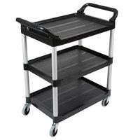 Rubbermaid FG342488BLA Black Three Shelf Utility Cart / Bus Cart 33 x 18 x 37