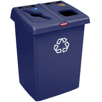 Rubbermaid 1792339 1/2 Glutton Blue Recycling Station - 46 Gallon