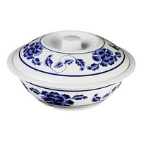 Lotus 80 oz. Round Melamine Serving Bowl with Lid - 11 inch