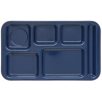 Carlisle 4398250 Melamine Space Saver 9 inch x 15 inch Dark Blue Right Hand 6 Compartment Tray