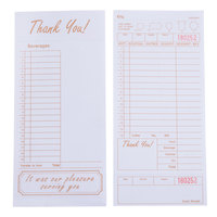 Choice 1 Part Tan and White Guest Check with Beverage Lines and Bottom Guest Receipt - 2000 Loose Packed Checks / Case