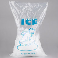 8 lb. Plastic Ice Bag with Blue ICE Logo - 1000/Bundle