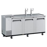 Turbo Air TCB-4SD-N (2) Double Tap Club Top Kegerator Beer Dispenser - Stainless Steel, (4) 1/2 Keg Capacity