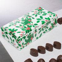 7 1/8 inch x 3 3/8 inch x 1 7/8 inch 1-Piece 1 lb. Holly / Holiday Candy Box   - 250/Case