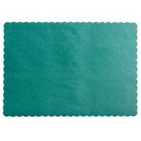 Choice 10 inch x 14 inch Hunter Green Colored Paper Placemat with Scalloped Edge   - 1000/Case