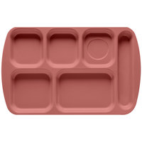 GET TR-151 Mauve Melamine 10 inch x 15 1/2 inch Right Hand 6 Compartment Tray - 12/Pack