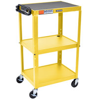 Luxor / H. Wilson AVJ42 Yellow 3 Shelf A/V Utility Cart 24 inch x 18 inch - Adjustable Height